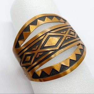 Jewelry - Solid Copper Native Aztec Wide Cuff Bracelet